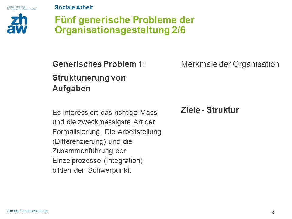 Soziale Arbeit Zürcher Fachhochschule Fünf generische Probleme der Organisationsgestaltung 2/6 Generisches Problem 1: Strukturierung von Aufgaben Es i