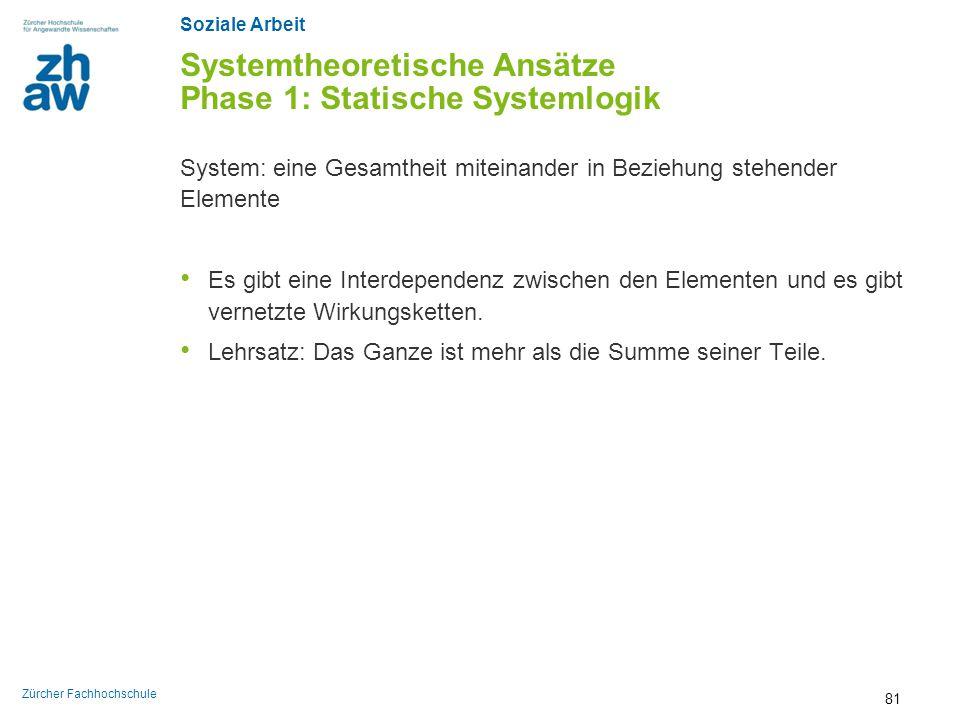 Soziale Arbeit Zürcher Fachhochschule Systemtheoretische Ansätze Phase 1: Statische Systemlogik System: eine Gesamtheit miteinander in Beziehung stehe