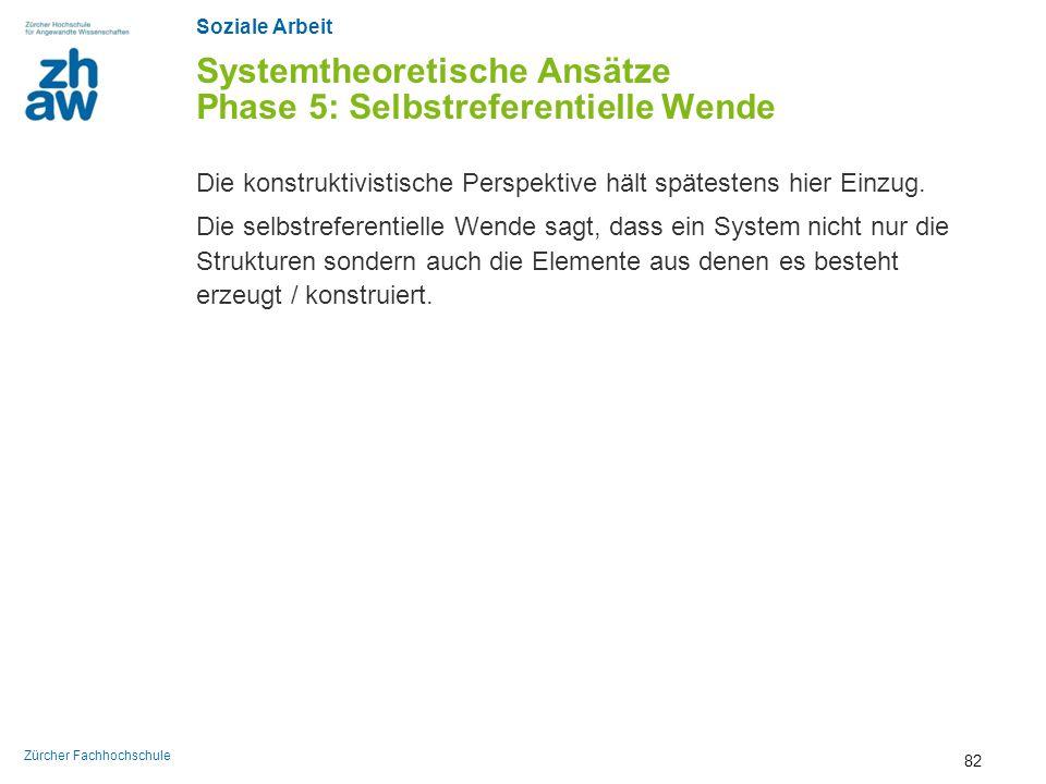 Soziale Arbeit Zürcher Fachhochschule Systemtheoretische Ansätze Phase 5: Selbstreferentielle Wende Die konstruktivistische Perspektive hält spätesten