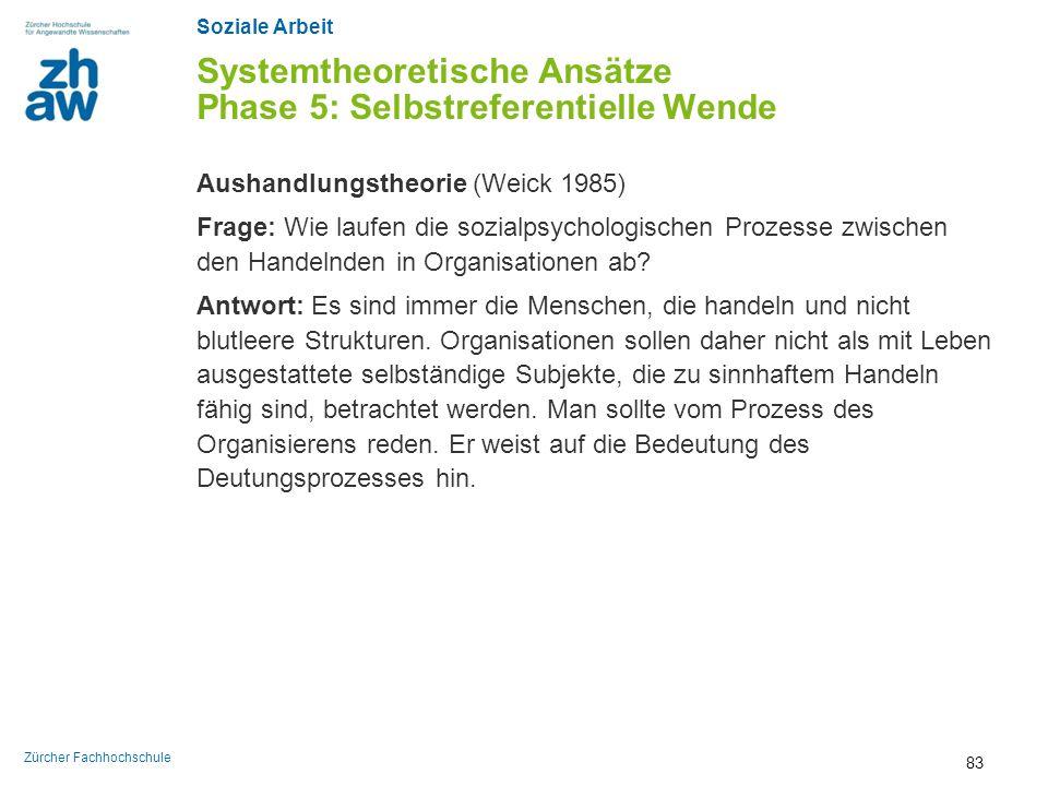 Soziale Arbeit Zürcher Fachhochschule Systemtheoretische Ansätze Phase 5: Selbstreferentielle Wende Aushandlungstheorie (Weick 1985) Frage: Wie laufen