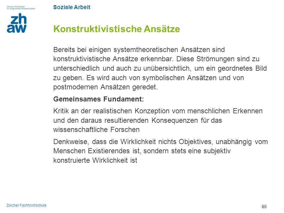 Soziale Arbeit Zürcher Fachhochschule Konstruktivistische Ansätze Bereits bei einigen systemtheoretischen Ansätzen sind konstruktivistische Ansätze er