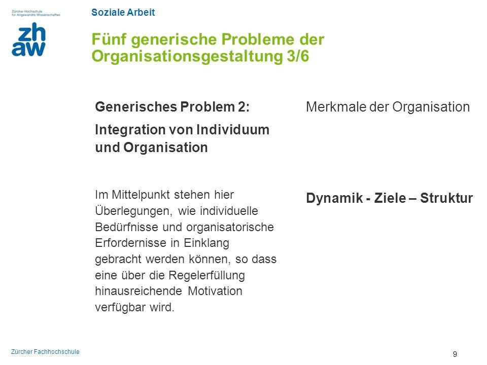 Soziale Arbeit Zürcher Fachhochschule Fünf generische Probleme der Organisationsgestaltung 3/6 Generisches Problem 2: Integration von Individuum und O