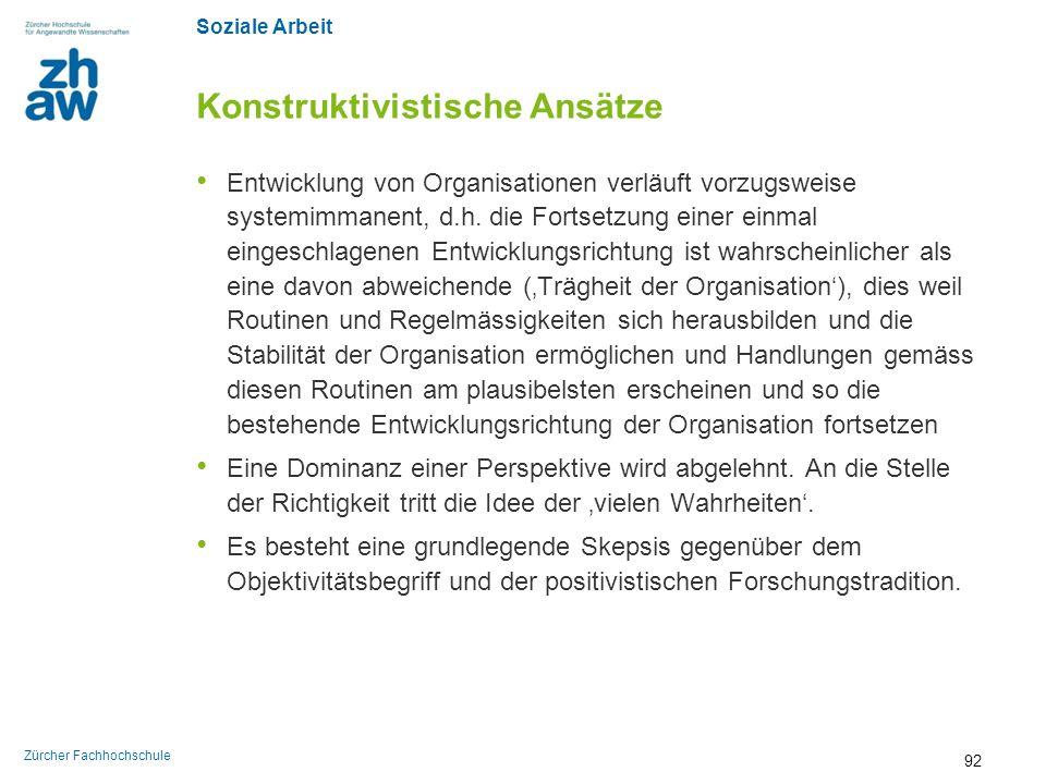 Soziale Arbeit Zürcher Fachhochschule Konstruktivistische Ansätze Entwicklung von Organisationen verläuft vorzugsweise systemimmanent, d.h. die Fortse