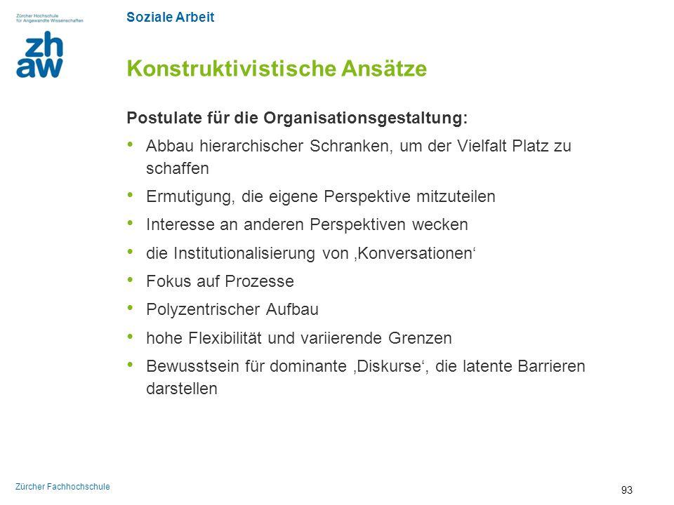 Soziale Arbeit Zürcher Fachhochschule Konstruktivistische Ansätze Postulate für die Organisationsgestaltung: Abbau hierarchischer Schranken, um der Vi