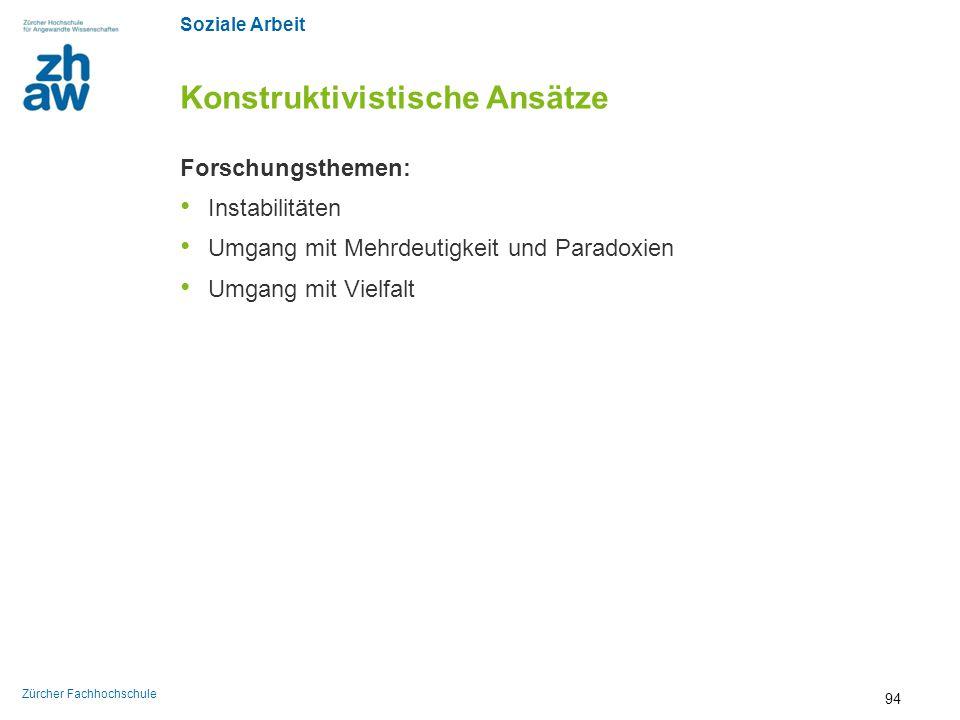 Soziale Arbeit Zürcher Fachhochschule Konstruktivistische Ansätze Forschungsthemen: Instabilitäten Umgang mit Mehrdeutigkeit und Paradoxien Umgang mit