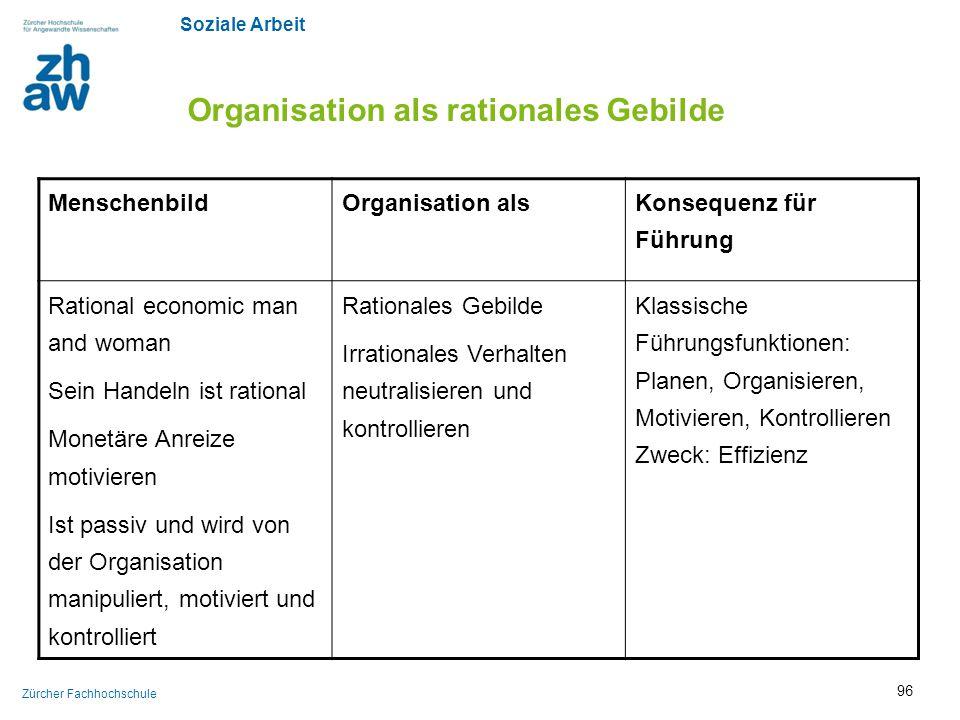 Soziale Arbeit Zürcher Fachhochschule Organisation als rationales Gebilde MenschenbildOrganisation als Konsequenz für Führung Rational economic man an