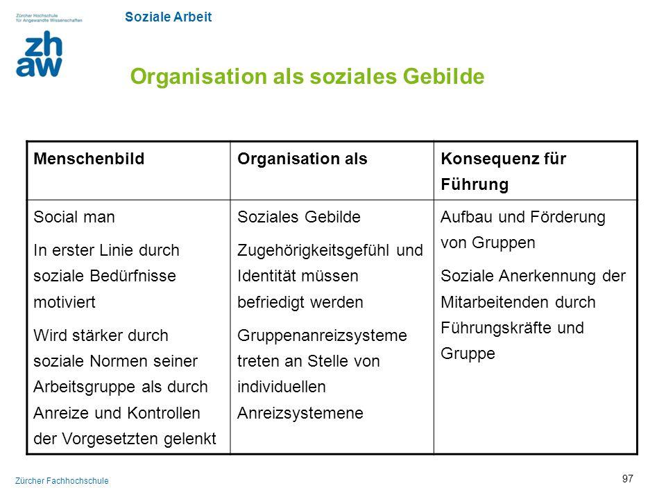 Soziale Arbeit Zürcher Fachhochschule Organisation als soziales Gebilde MenschenbildOrganisation als Konsequenz für Führung Social man In erster Linie