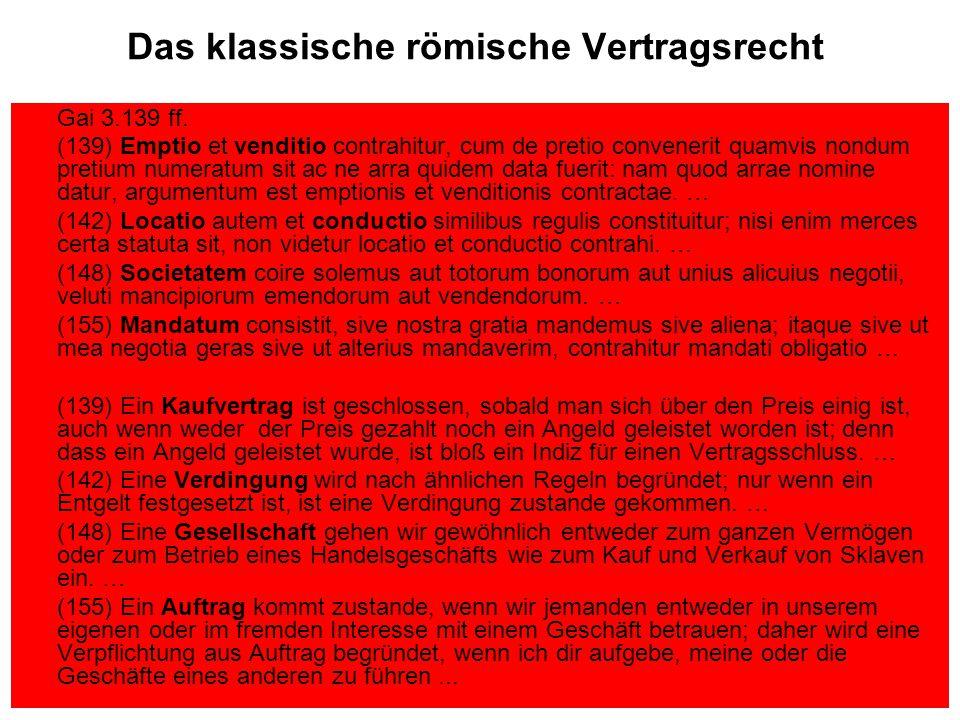 Das klassische römische Vertragsrecht Gai 3.139 ff.
