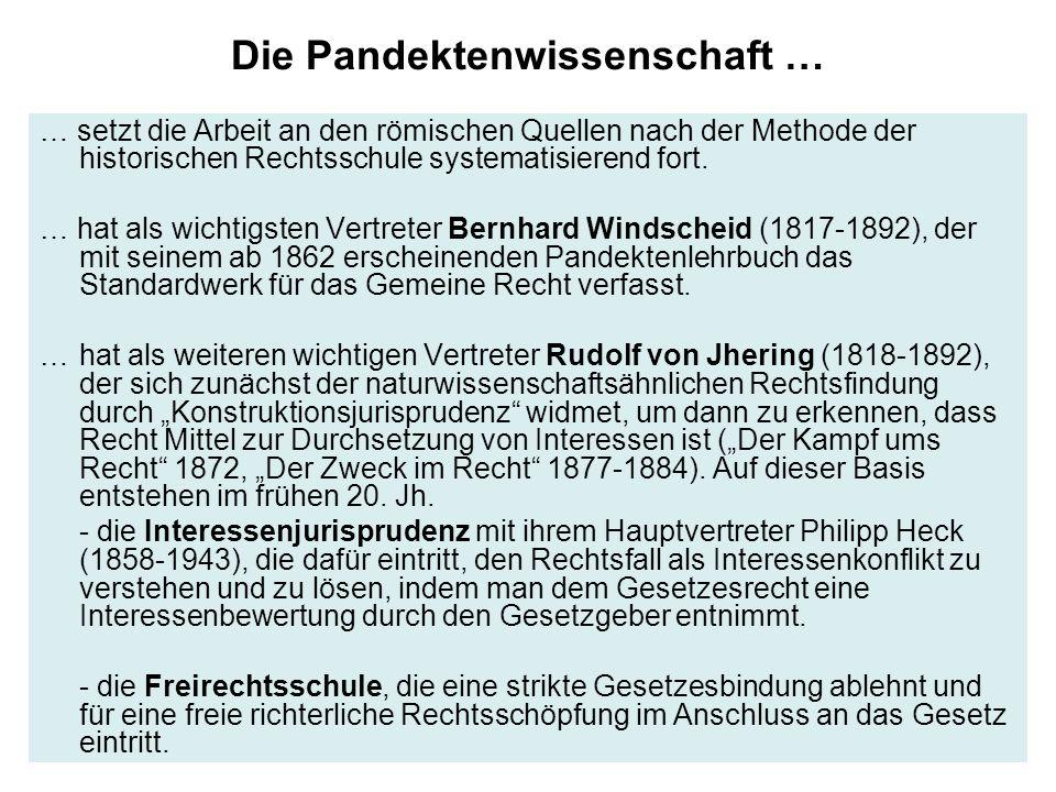 Die Pandektenwissenschaft … … setzt die Arbeit an den römischen Quellen nach der Methode der historischen Rechtsschule systematisierend fort.