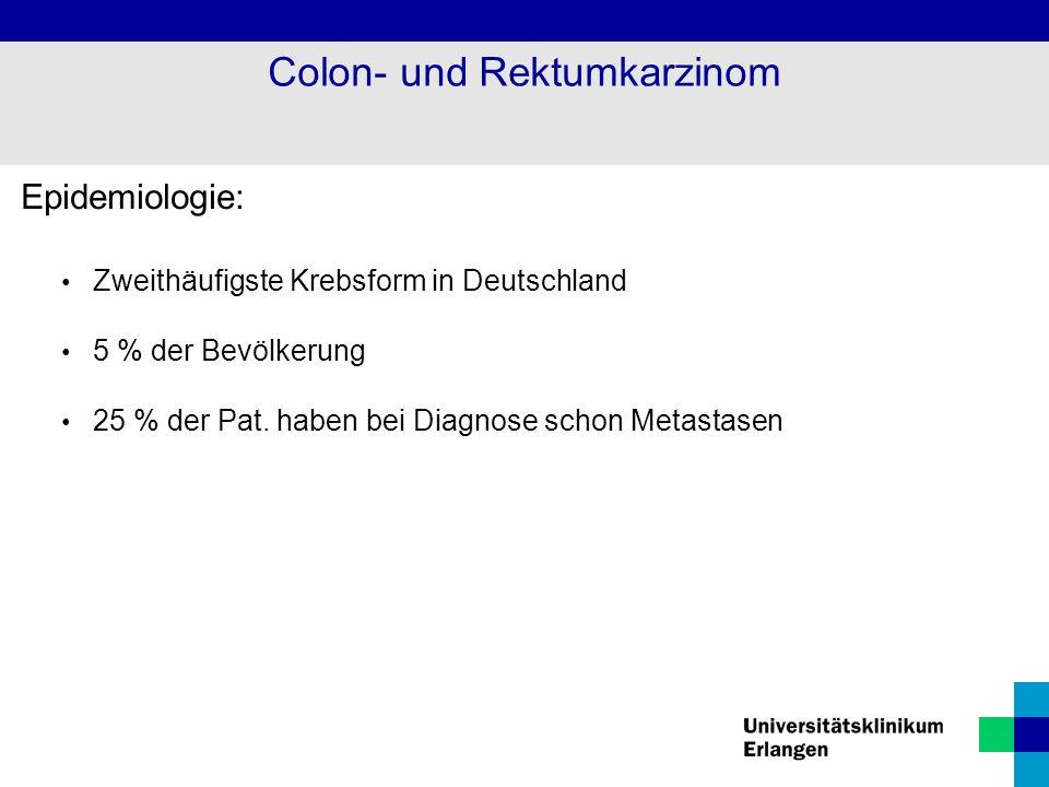 Epidemiologie: Zweithäufigste Krebsform in Deutschland 5 % der Bevölkerung 25 % der Pat. haben bei Diagnose schon Metastasen Colon- und Rektumkarzinom