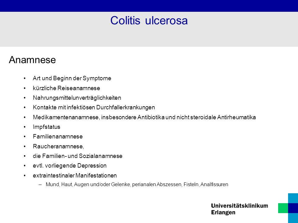 Anamnese Art und Beginn der Symptome kürzliche Reiseanamnese Nahrungsmittelunverträglichkeiten Kontakte mit infektiösen Durchfallerkrankungen Medikame