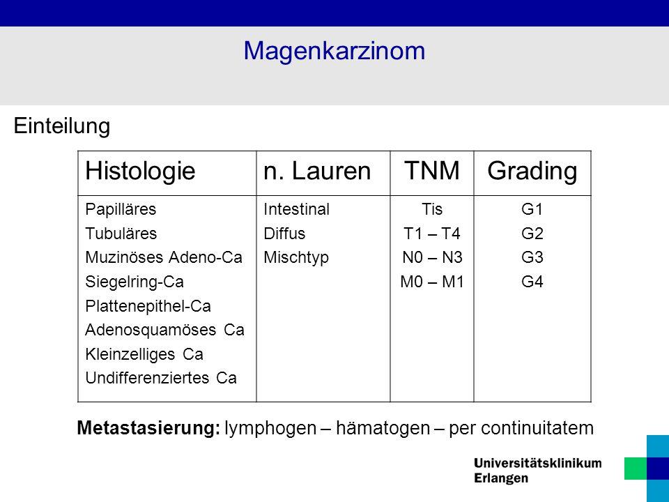 Einteilung Histologien. LaurenTNMGrading Papilläres Tubuläres Muzinöses Adeno-Ca Siegelring-Ca Plattenepithel-Ca Adenosquamöses Ca Kleinzelliges Ca Un