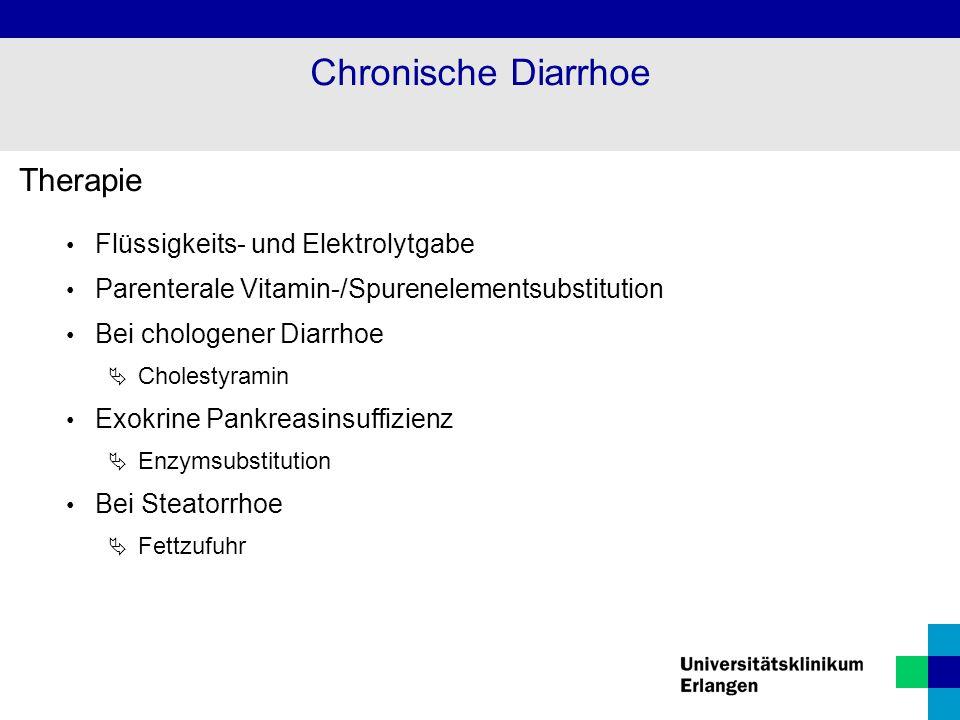 Therapie Flüssigkeits- und Elektrolytgabe Parenterale Vitamin-/Spurenelementsubstitution Bei chologener Diarrhoe  Cholestyramin Exokrine Pankreasinsu