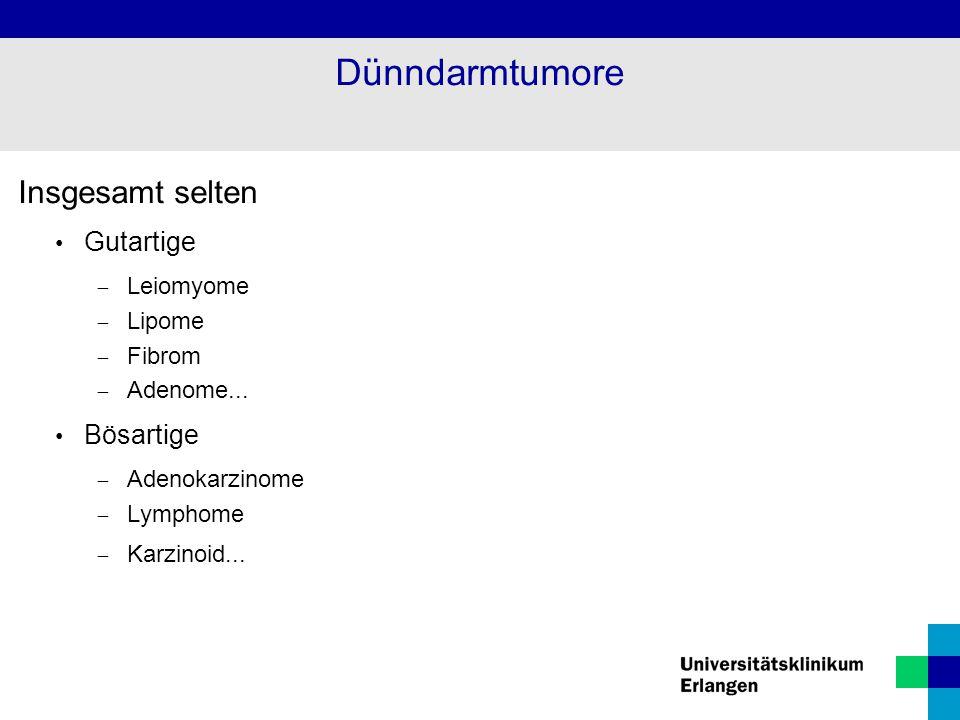Insgesamt selten Gutartige  Leiomyome  Lipome  Fibrom  Adenome... Bösartige  Adenokarzinome  Lymphome  Karzinoid... Dünndarmtumore