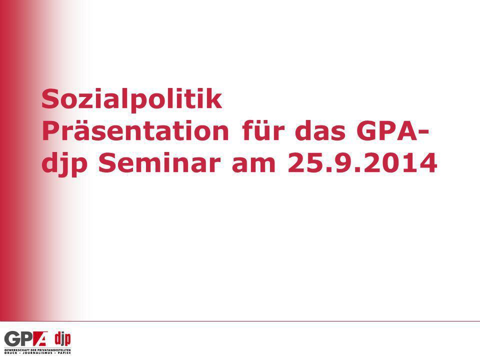 Sozialpolitik Präsentation für das GPA- djp Seminar am 25.9.2014