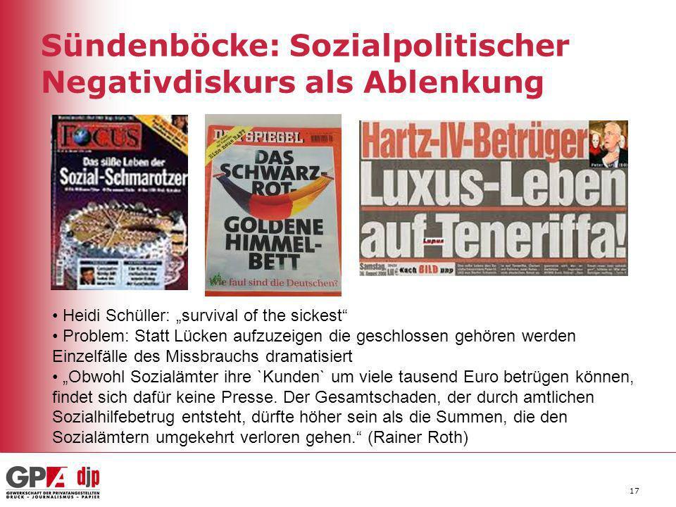 """17 Sündenböcke: Sozialpolitischer Negativdiskurs als Ablenkung Heidi Schüller: """"survival of the sickest"""" Problem: Statt Lücken aufzuzeigen die geschlo"""