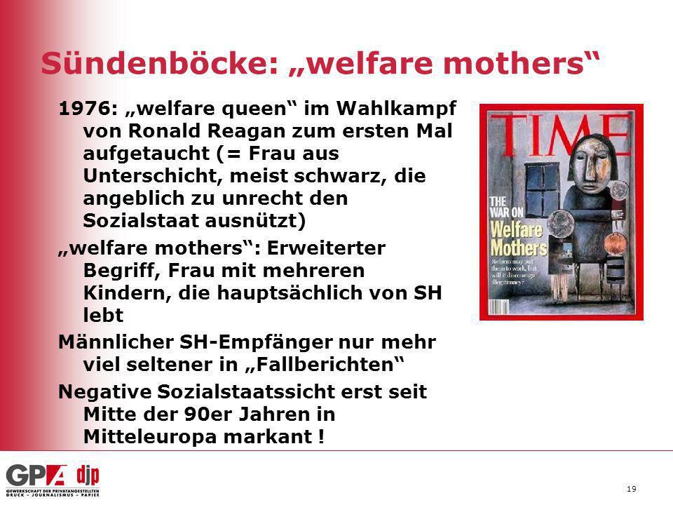 """19 Sündenböcke: """"welfare mothers"""" 1976: """"welfare queen"""" im Wahlkampf von Ronald Reagan zum ersten Mal aufgetaucht (= Frau aus Unterschicht, meist schw"""