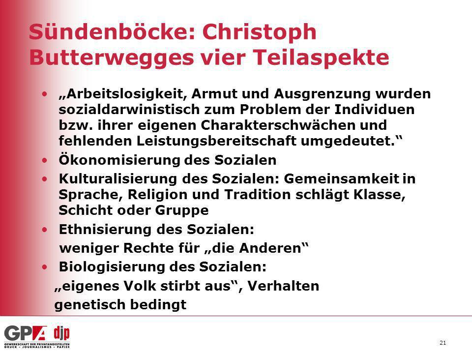 """21 Sündenböcke: Christoph Butterwegges vier Teilaspekte """"Arbeitslosigkeit, Armut und Ausgrenzung wurden sozialdarwinistisch zum Problem der Individuen"""