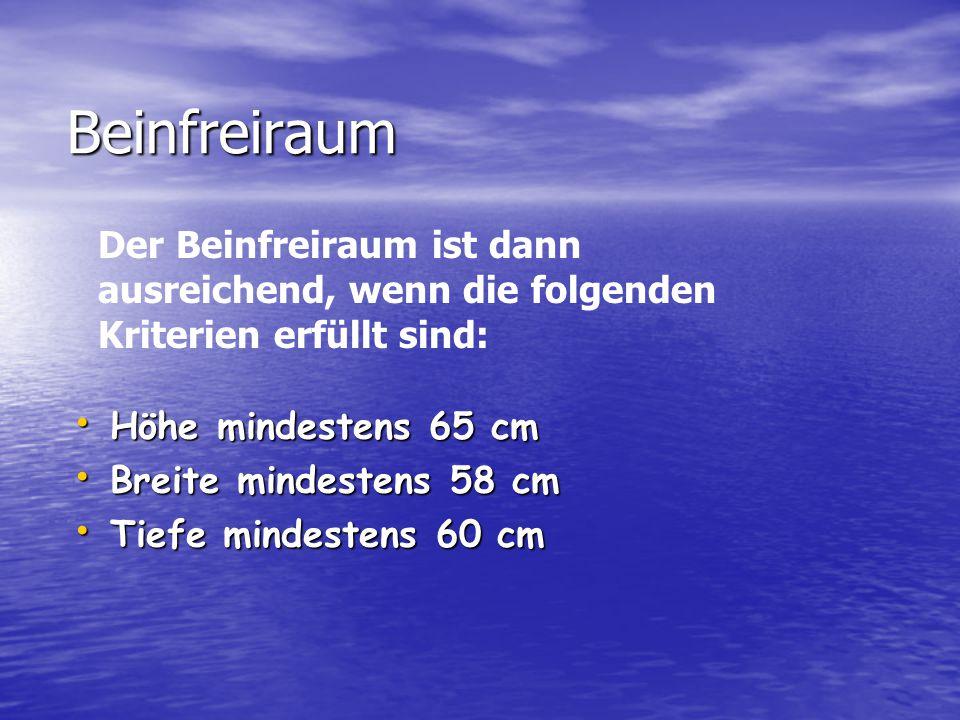 Beinfreiraum Höhe mindestens 65 cm Höhe mindestens 65 cm Breite mindestens 58 cm Breite mindestens 58 cm Tiefe mindestens 60 cm Tiefe mindestens 60 cm