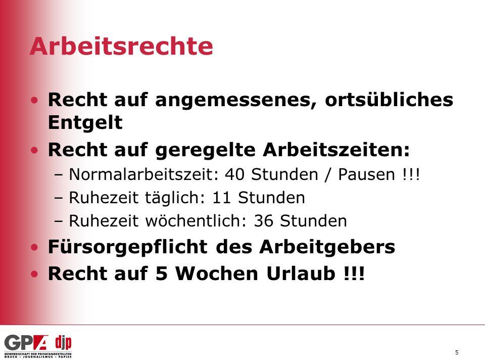 5 Arbeitsrechte Recht auf angemessenes, ortsübliches Entgelt Recht auf geregelte Arbeitszeiten: –Normalarbeitszeit: 40 Stunden / Pausen !!! –Ruhezeit