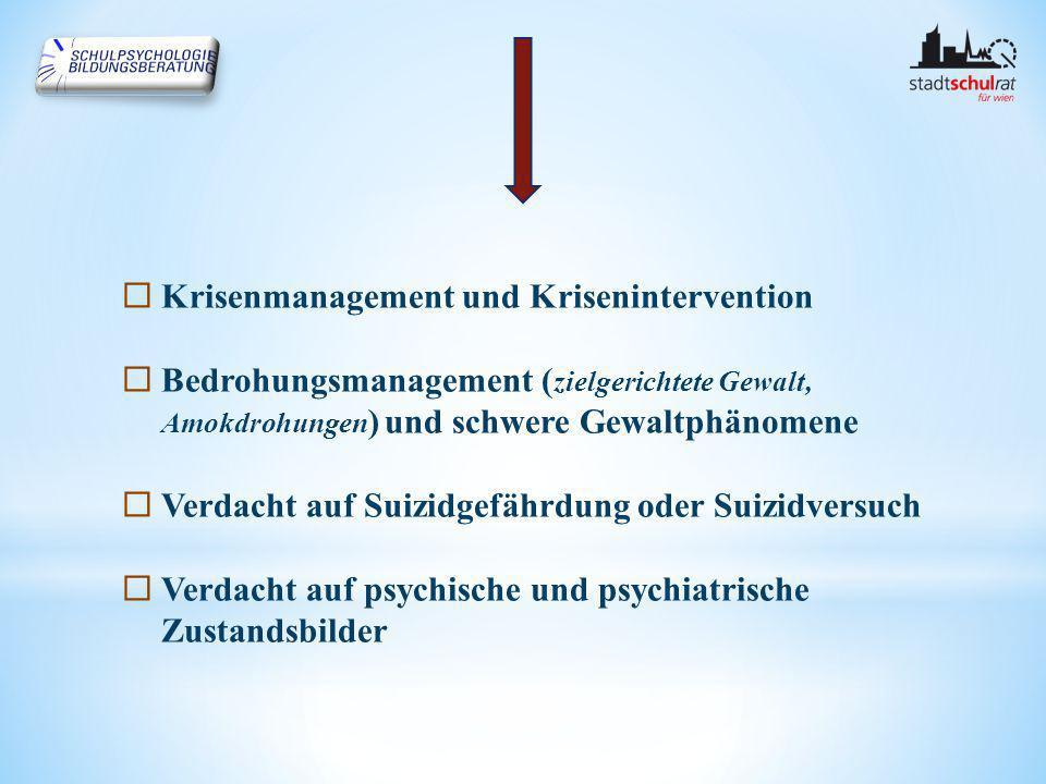  Krisenmanagement und Krisenintervention  Bedrohungsmanagement ( zielgerichtete Gewalt, Amokdrohungen ) und schwere Gewaltphänomene  Verdacht auf Suizidgefährdung oder Suizidversuch  Verdacht auf psychische und psychiatrische Zustandsbilder