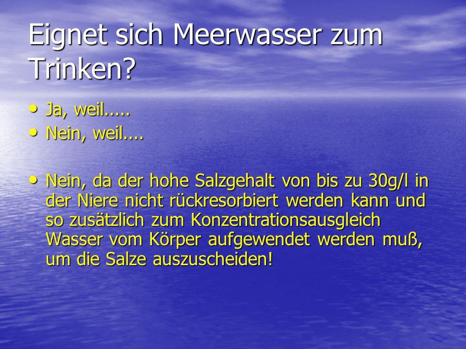 Eignet sich Meerwasser zum Trinken? Ja, weil..... Ja, weil..... Nein, weil.... Nein, weil.... Nein, da der hohe Salzgehalt von bis zu 30g/l in der Nie