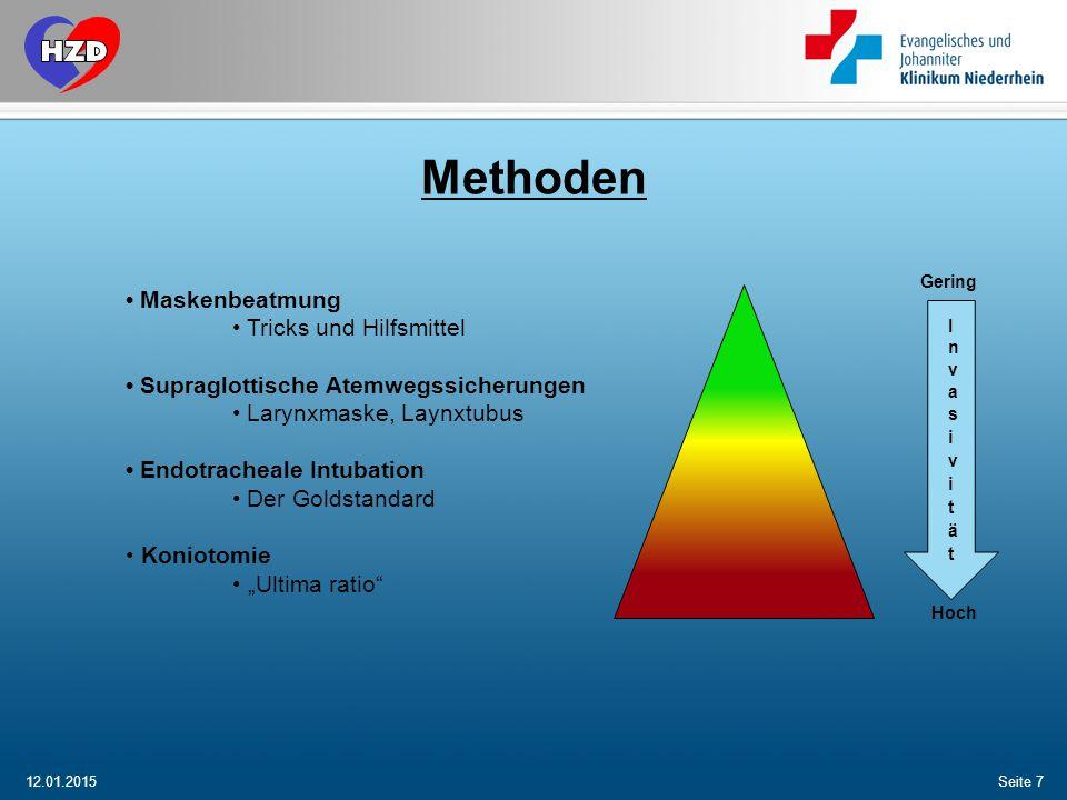 12.01.2015Seite 8 Erste grundsätzliche Massnahme ist das überprüfen der Atmung und freimachen der Atemwege.
