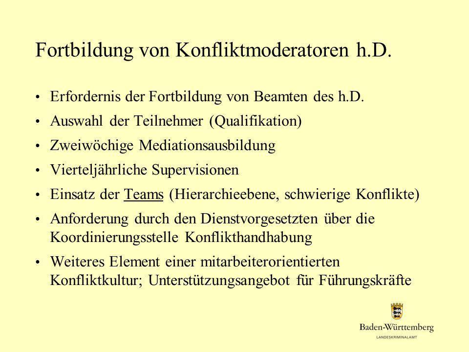 Fortbildung von Konfliktmoderatoren h.D. Erfordernis der Fortbildung von Beamten des h.D. Auswahl der Teilnehmer (Qualifikation) Zweiwöchige Mediation