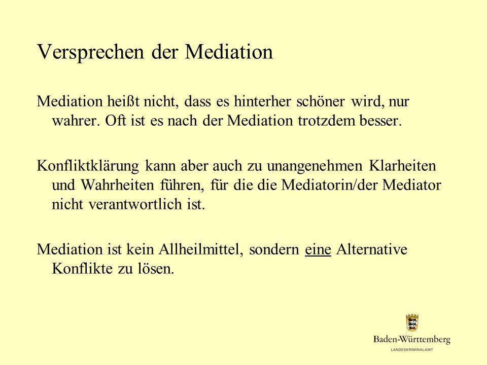 Versprechen der Mediation Mediation heißt nicht, dass es hinterher schöner wird, nur wahrer. Oft ist es nach der Mediation trotzdem besser. Konfliktkl