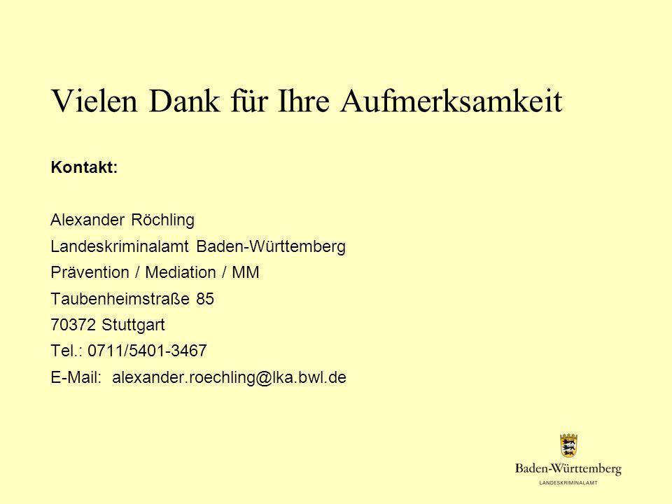Vielen Dank für Ihre Aufmerksamkeit Kontakt: Alexander Röchling Landeskriminalamt Baden-Württemberg Prävention / Mediation / MM Taubenheimstraße 85 70