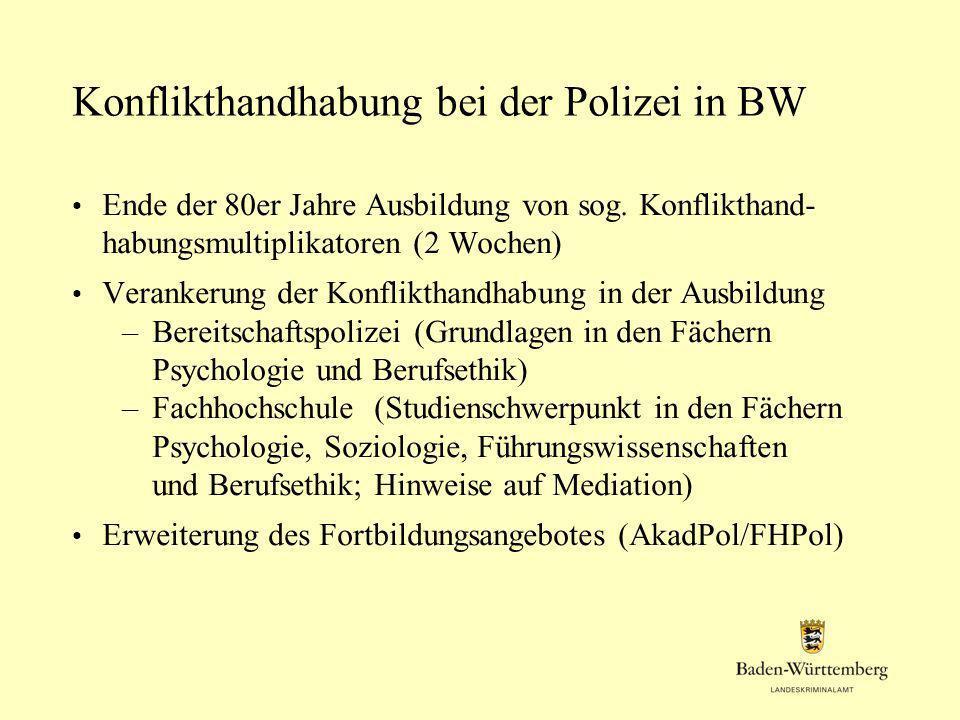 Konflikthandhabung bei der Polizei in BW Ende der 80er Jahre Ausbildung von sog. Konflikthand- habungsmultiplikatoren (2 Wochen) Verankerung der Konfl