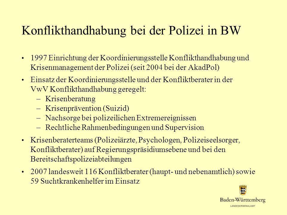 Konflikthandhabung bei der Polizei in BW 1997 Einrichtung der Koordinierungsstelle Konflikthandhabung und Krisenmanagement der Polizei (seit 2004 bei