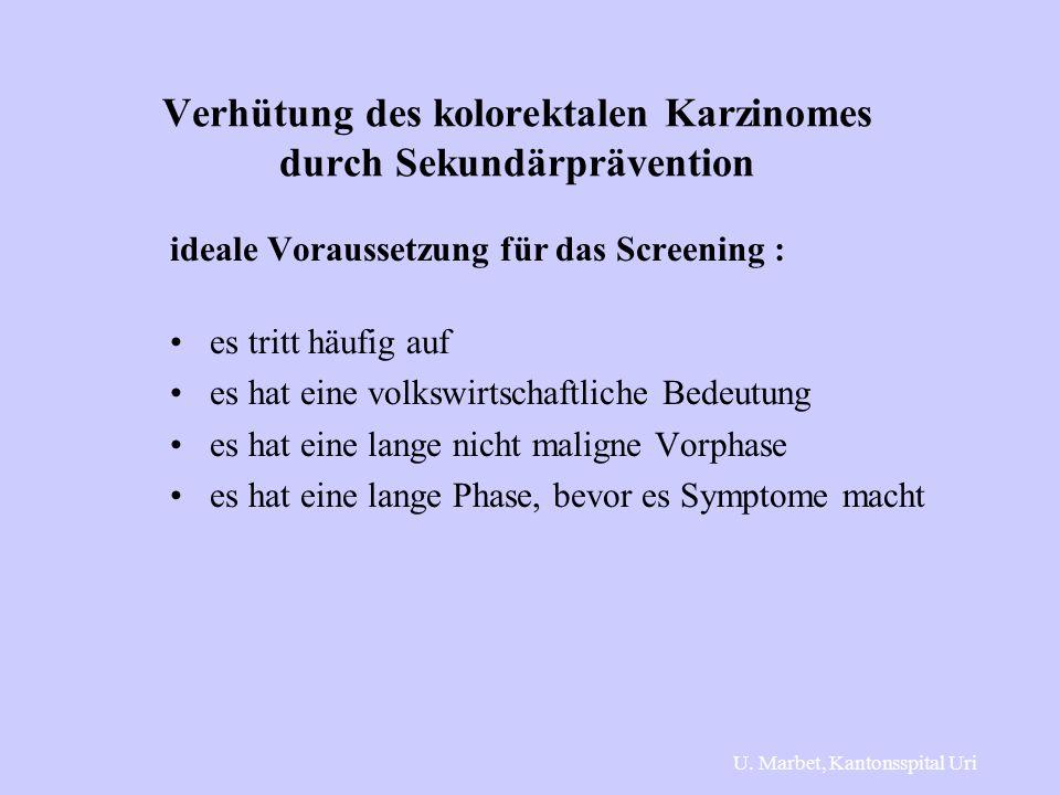 Verhütung des kolorektalen Karzinomes durch Sekundärprävention ideale Voraussetzung für das Screening : es tritt häufig auf es hat eine volkswirtschaftliche Bedeutung es hat eine lange nicht maligne Vorphase es hat eine lange Phase, bevor es Symptome macht U.