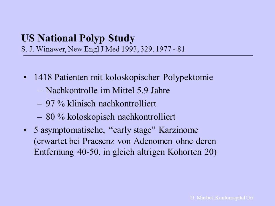 __________________________________________________ 1418 Patienten mit koloskopischer Polypektomie –Nachkontrolle im Mittel 5.9 Jahre –97 % klinisch nachkontrolliert –80 % koloskopisch nachkontrolliert 5 asymptomatische, early stage Karzinome (erwartet bei Praesenz von Adenomen ohne deren Entfernung 40-50, in gleich altrigen Kohorten 20) US National Polyp Study S.
