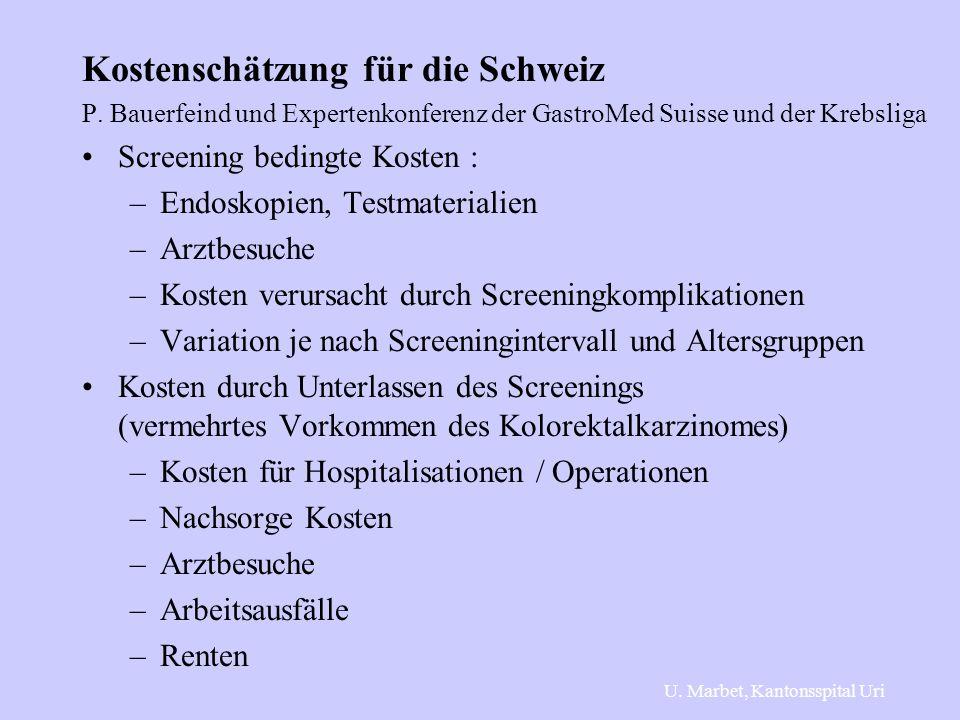 Kostenschätzung für die Schweiz P. Bauerfeind und Expertenkonferenz der GastroMed Suisse und der Krebsliga Screening bedingte Kosten : –Endoskopien, T