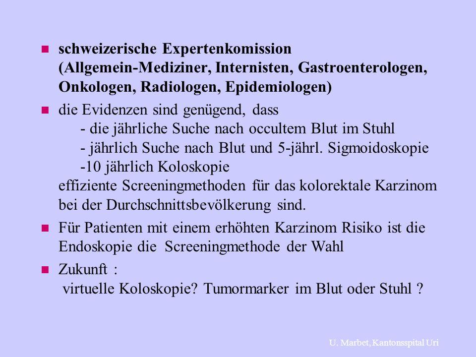 n schweizerische Expertenkomission (Allgemein-Mediziner, Internisten, Gastroenterologen, Onkologen, Radiologen, Epidemiologen) n die Evidenzen sind ge
