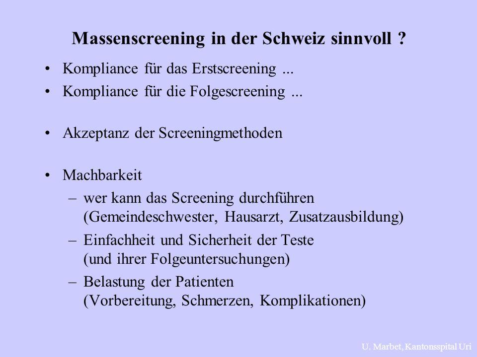 Massenscreening in der Schweiz sinnvoll ? Kompliance für das Erstscreening... Kompliance für die Folgescreening... Akzeptanz der Screeningmethoden Mac