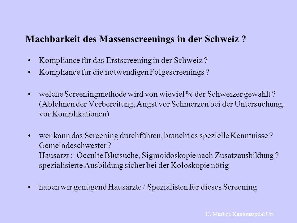 Machbarkeit des Massenscreenings in der Schweiz ? Kompliance für das Erstscreening in der Schweiz ? Kompliance für die notwendigen Folgescreenings ? w