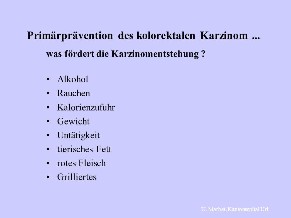 Primärprävention des kolorektalen Karzinom... was fördert die Karzinomentstehung ? Alkohol Rauchen Kalorienzufuhr Gewicht Untätigkeit tierisches Fett