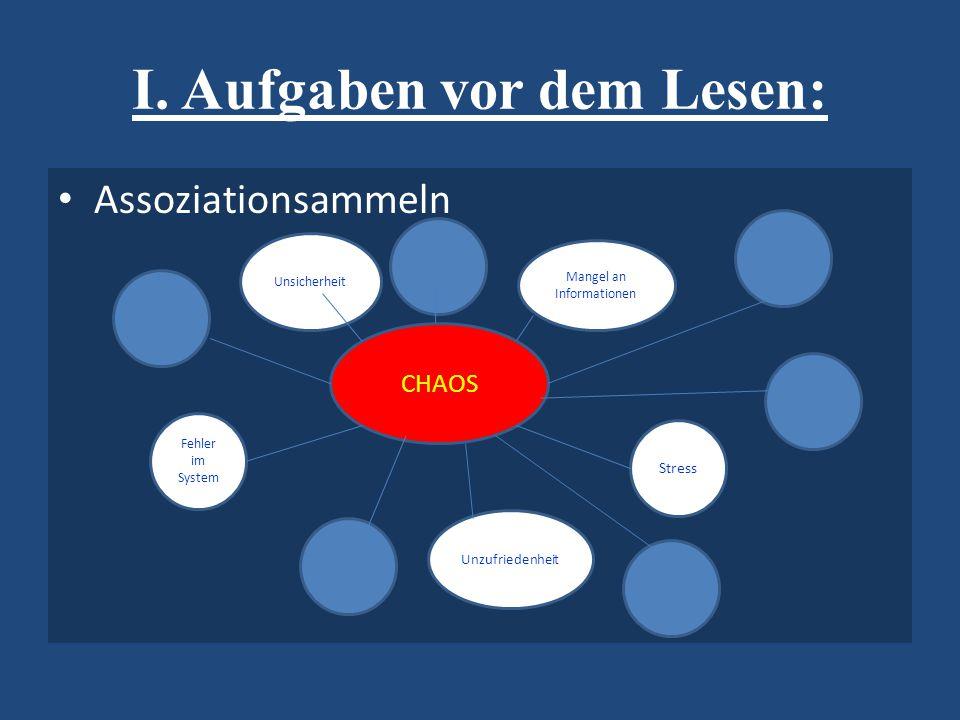 I. Aufgaben vor dem Lesen: Assoziationsammeln CHAOS Mangel an Informationen Unsicherheit Fehler im System Unzufriedenheit Stress