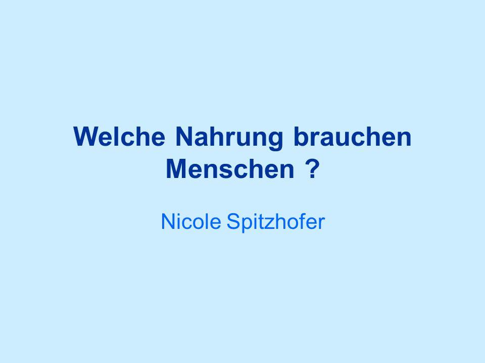 Welche Nahrung brauchen Menschen Nicole Spitzhofer