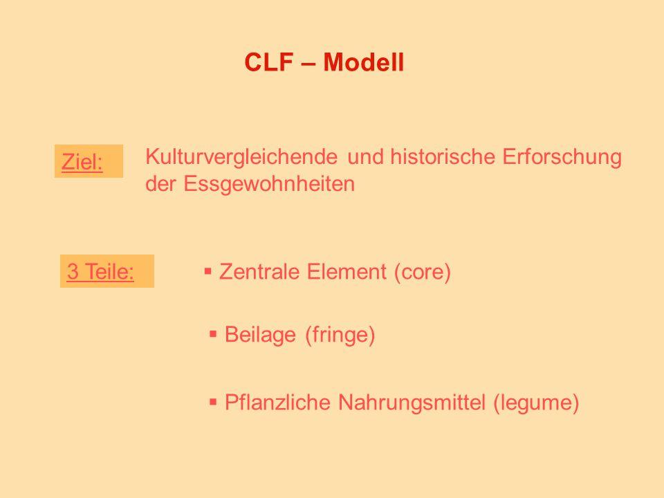 CLF – Modell Kulturvergleichende und historische Erforschung der Essgewohnheiten 3 Teile:  Zentrale Element (core)  Beilage (fringe)  Pflanzliche Nahrungsmittel (legume) Ziel: