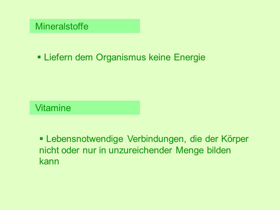 Mineralstoffe Vitamine  Liefern dem Organismus keine Energie  Lebensnotwendige Verbindungen, die der Körper nicht oder nur in unzureichender Menge bilden kann