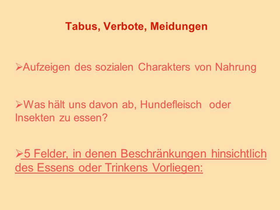 Tabus, Verbote, Meidungen  Aufzeigen des sozialen Charakters von Nahrung  Was hält uns davon ab, Hundefleisch oder Insekten zu essen.