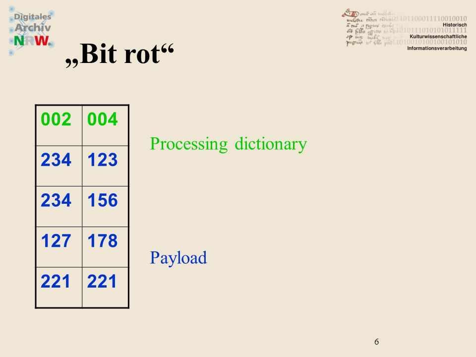 "Processing dictionary Payload 6 ""Bit rot"