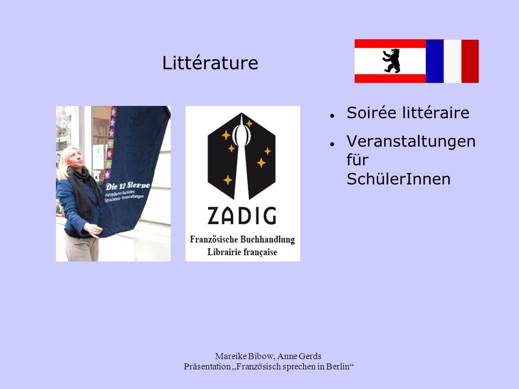 """Mareike Bibow, Anne Gerds Präsentation """"Französisch sprechen in Berlin Littérature Soirée littéraire Veranstaltungen für SchülerInnen"""