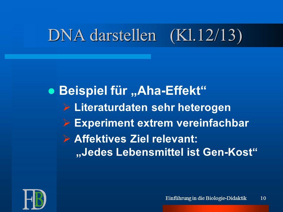 """Einführung in die Biologie-Didaktik10 DNA darstellen (Kl.12/13) Beispiel für """"Aha-Effekt  Literaturdaten sehr heterogen  Experiment extrem vereinfachbar  Affektives Ziel relevant: """"Jedes Lebensmittel ist Gen-Kost"""