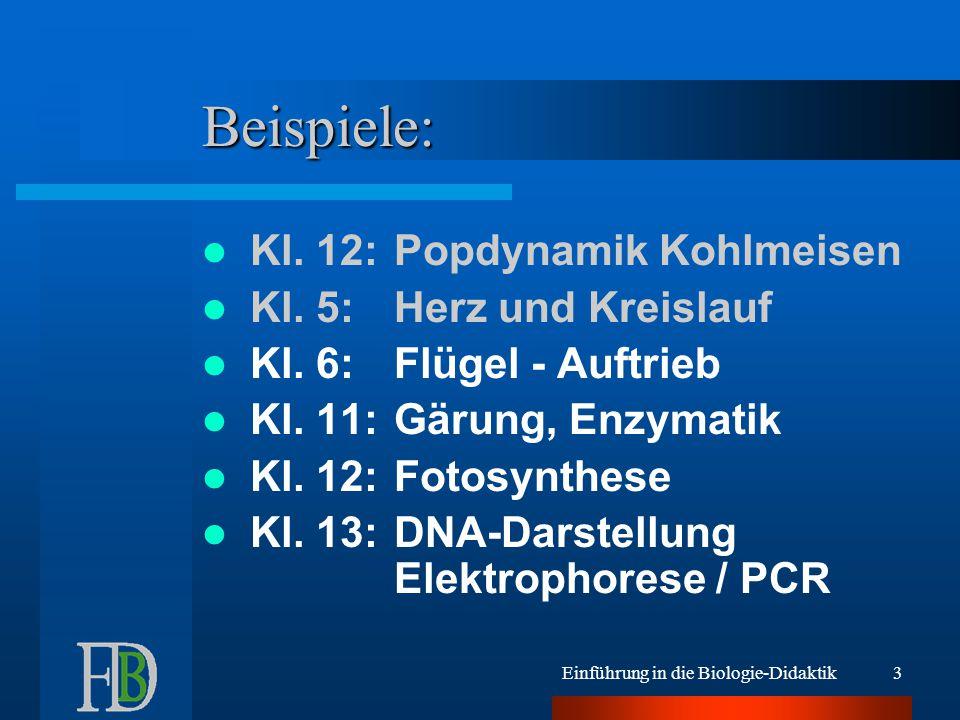 Einführung in die Biologie-Didaktik3 Beispiele: Kl. 12:Popdynamik Kohlmeisen Kl. 5:Herz und Kreislauf Kl. 6:Flügel - Auftrieb Kl. 11:Gärung, Enzymatik