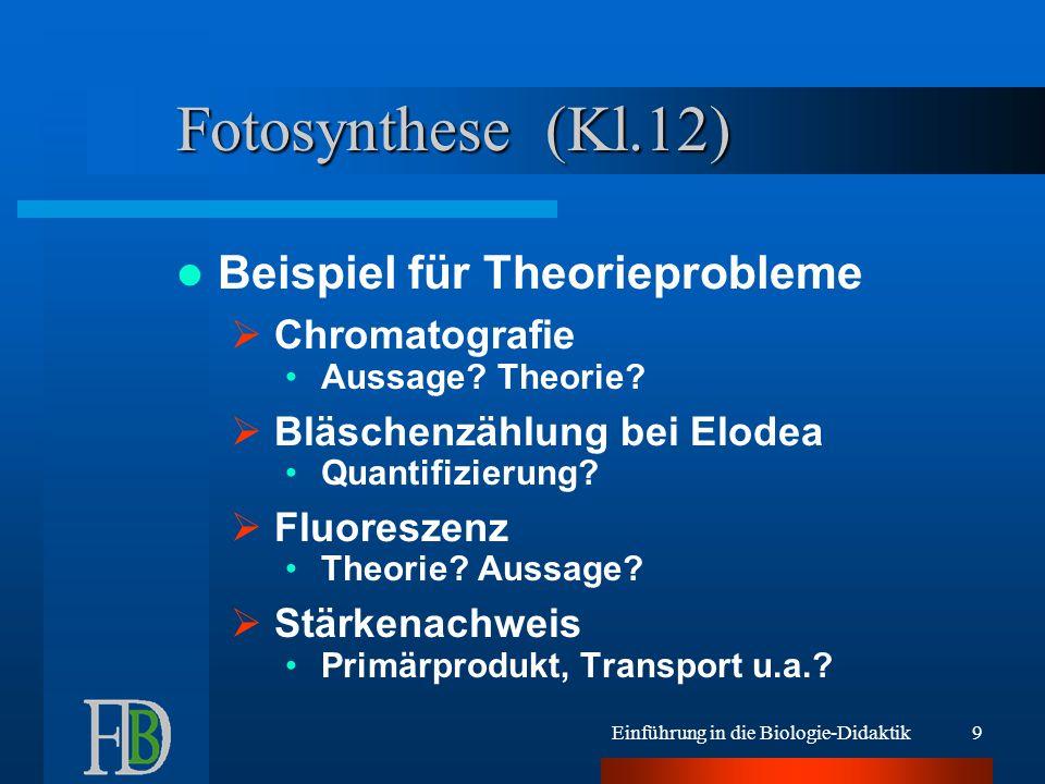 Einführung in die Biologie-Didaktik9 Fotosynthese (Kl.12) Beispiel für Theorieprobleme  Chromatografie Aussage? Theorie?  Bläschenzählung bei Elodea