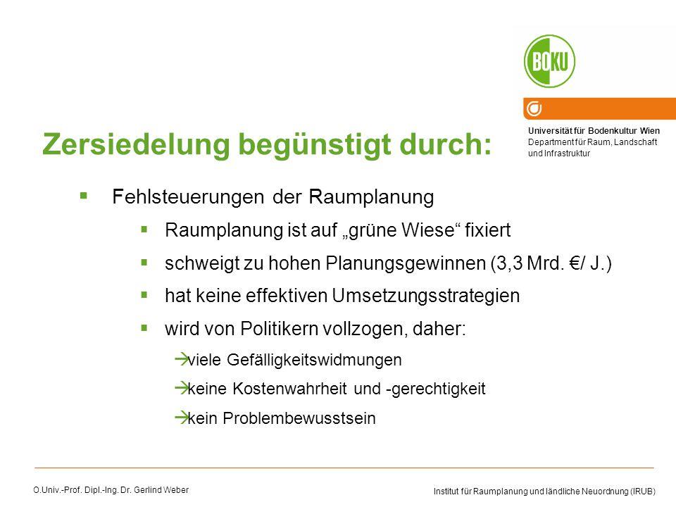 Universität für Bodenkultur Wien Department für Raum, Landschaft und Infrastruktur Institut für Raumplanung und ländliche Neuordnung (IRUB) O.Univ.-Prof.